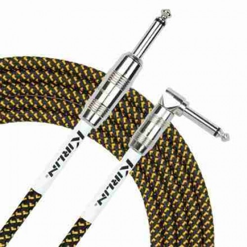 Kirlin 10ft Angled Guitar cable Fabric Yellow/Black